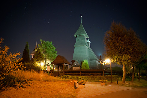 Kościół w Palowicach nocą, fot. Łukasz Malcharek